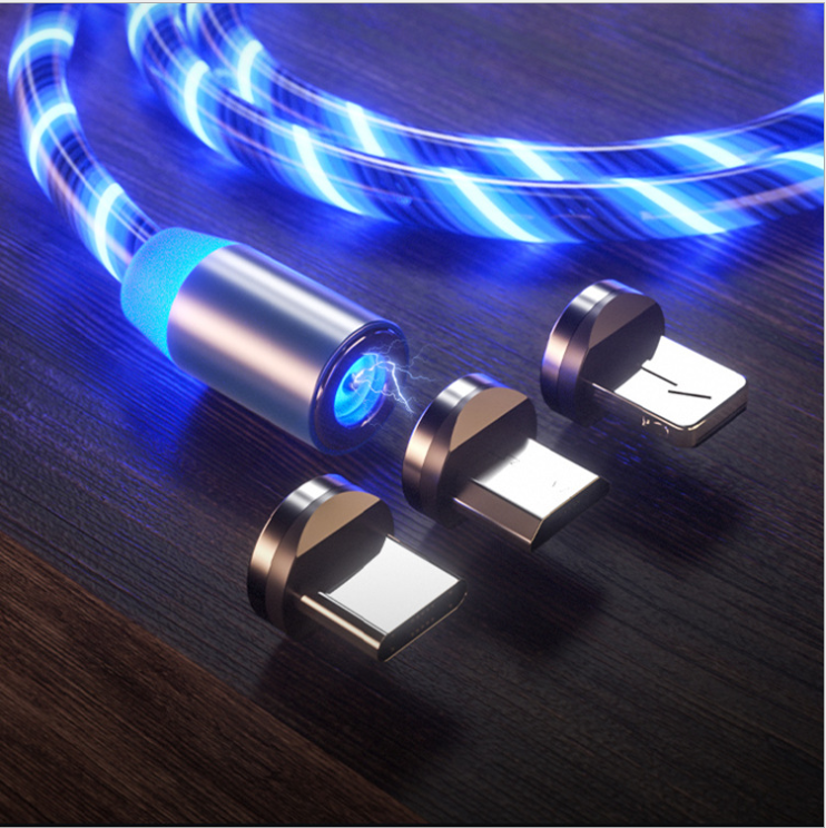 Factory New EL Glowing 3 in 1 Magnetic 2.4A Fast Charging Micro USB Type C 8PIN Magnet Charging Cable