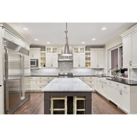 American white shaker kitchen cabinet with glass door design