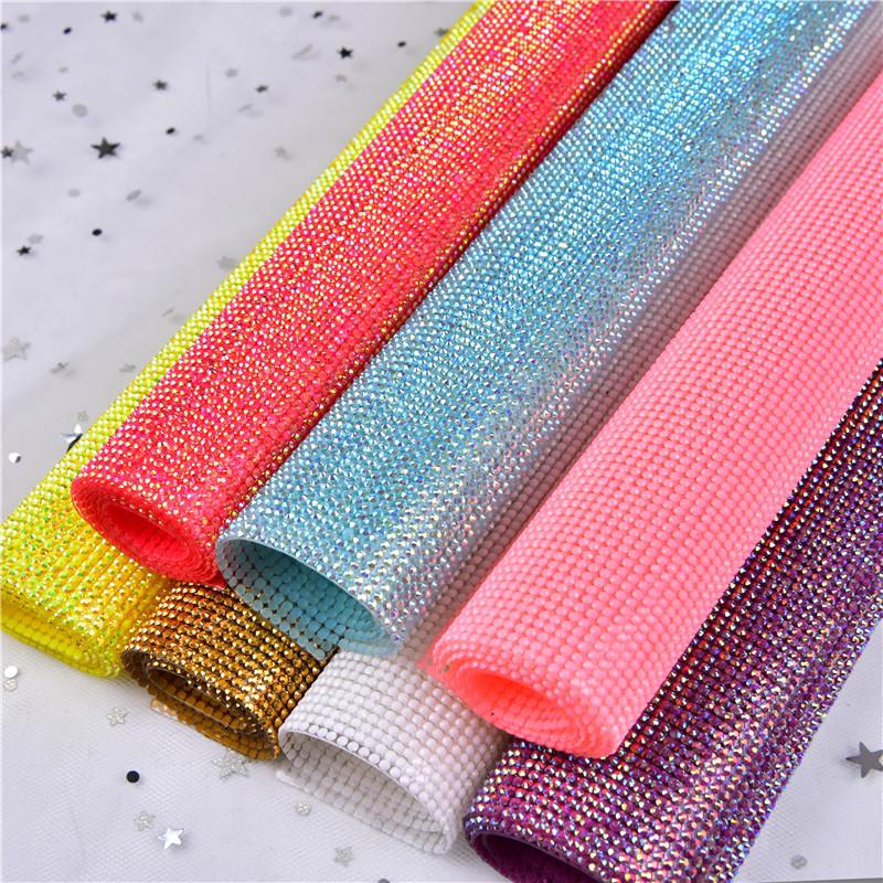 crystal rhinestone flatback self adhesive sheet or hotfix to fabric rhinestone decor 2mm mesh roll for wedding bling trim AB, 18 color for you choose