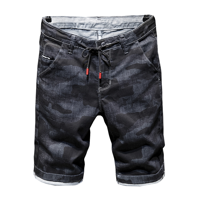 High quality jeans shorts Men's summer stretch denim pants boys short pants Young jeans fit skinny breathable Five trousers фото