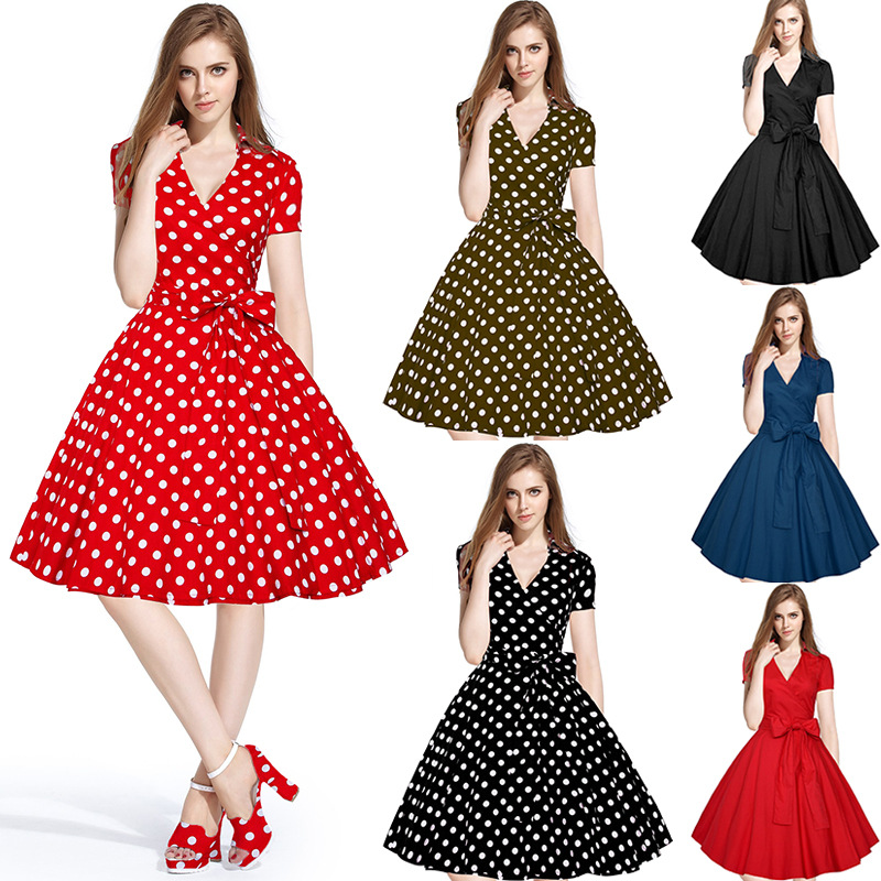 2016 Cap Sleeve 50 s 60 s Rockabilly Vintage Swing Retro Pinup Partai Prom Cocktail Dress dengan polka dot