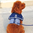 Pet Dog Collar Clothes Navy Dog Vest Harness Leash Pothook Button Dog Apparel