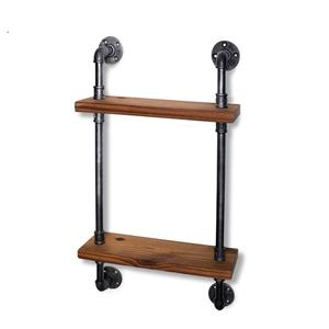 Water Pipe Industry Style Solid Wood Wrought Iron Rack, Wall Hanging Bookcase Combination Wood Floating Shelves