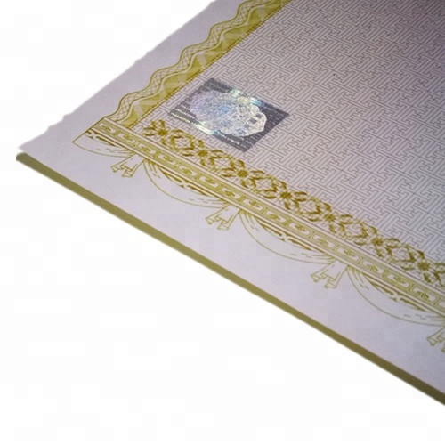 Custom Anti-counterfeiting Gold Foil Security Certificate