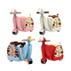 Hot!!Multi-function scooter luggage plastic suitcase car with wheel for kids HC298100