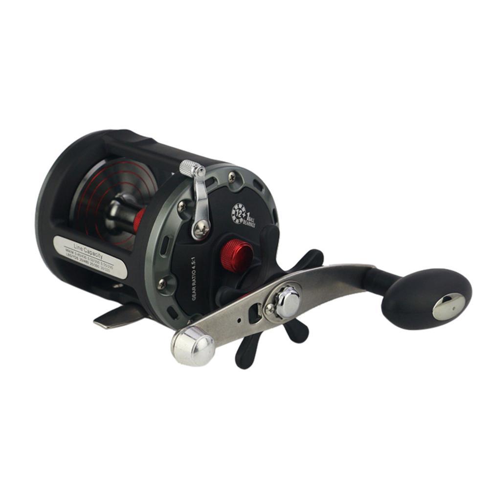 Trolling Fishing Reel Saltwater Game Boat 12+1BB Rod Rack Drive Fish Tools Bearing Reel High Speed Metal Drum, Black