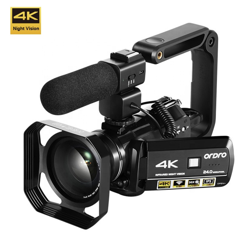 ORDRO AC3 Infrared Night Vision 4k video camera 24MP 30X Digital Zoom 4k video camcorder with Hot shoe фото