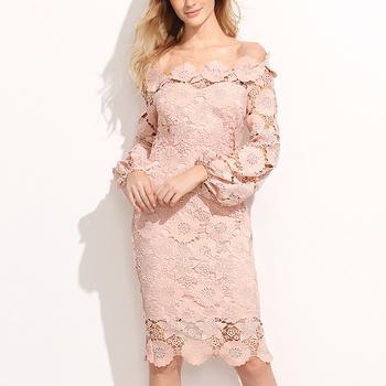 wholesale women clothing fashion off shoulder knee length pink long sleeve tight lace dress