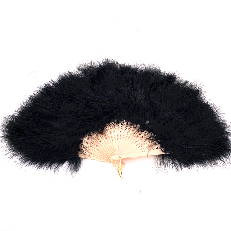 PoeticExst feather hand fans <strong>wedding</strong> 25 ribs soft turkey feather assorted colors performance folding dance fans