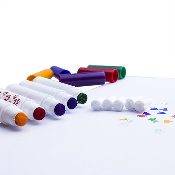 Free Sample Mutil-Color Cute Stamp Watercolor Marker Non-toxic Magic Color Pen