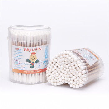 100pcs Disposable double-end  bamboo ear cleaning stick cotton buds