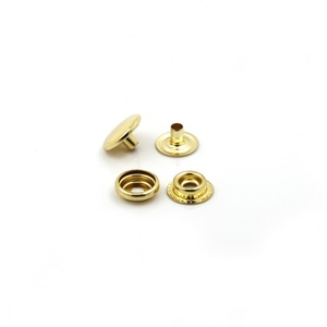 Eco Friendly Shiny Golden Four Parts Brass Metal Press Snap Buttons for Leather
