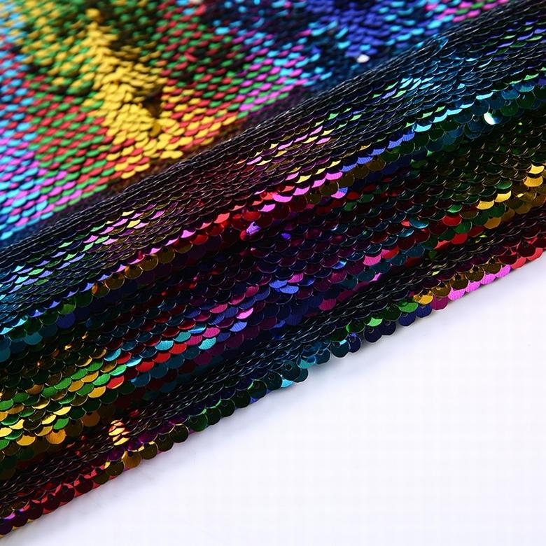 Chất lượng cao đa màu sắc sequins ba chiều vải tuyn gương thêu vải cho váy