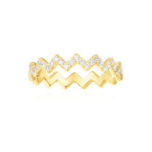 Fashion Gold Plated Simple White CZ Silver Ring