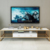 Iron support marble top TV stand with drawer