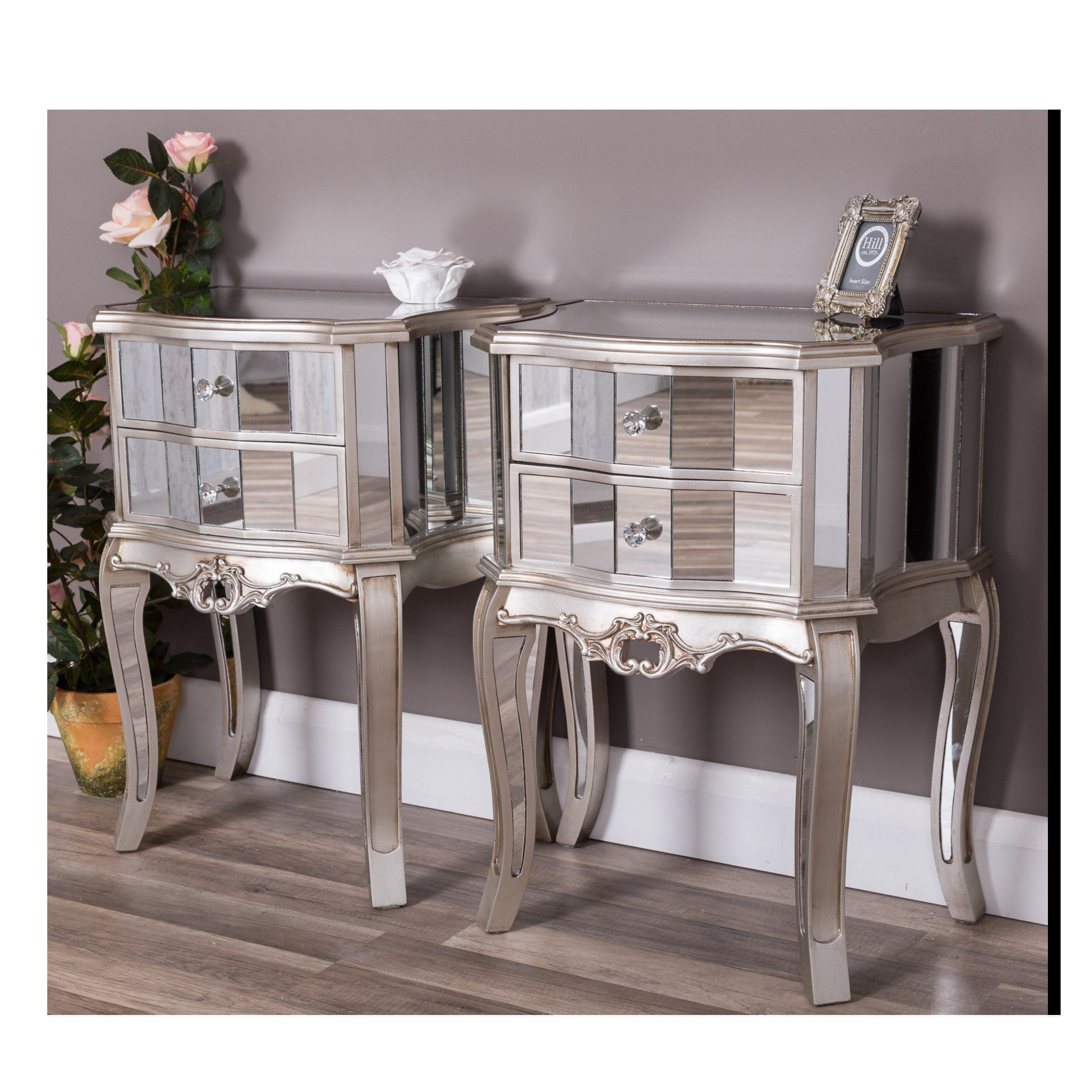 Luxury classic hot sale mirrored bed side night stand side table with drawers