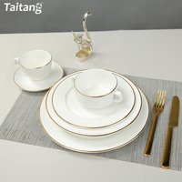 Bone china gold rim deep blue decal dinnerware set