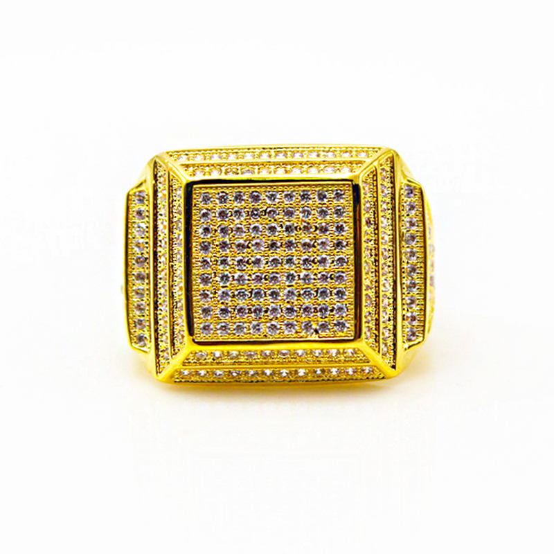 Square Ring Wholesale Micro Pave Rings Men Jewelry 18k Gold Plated Sterling Silver Band Ring Iced Out CZ HipHop Ring фото
