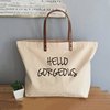 Eco-Friendly Large Canvas Handbag Cotton Leather Handle Market Tote Bag (Natural Embroidery or Print Logo)