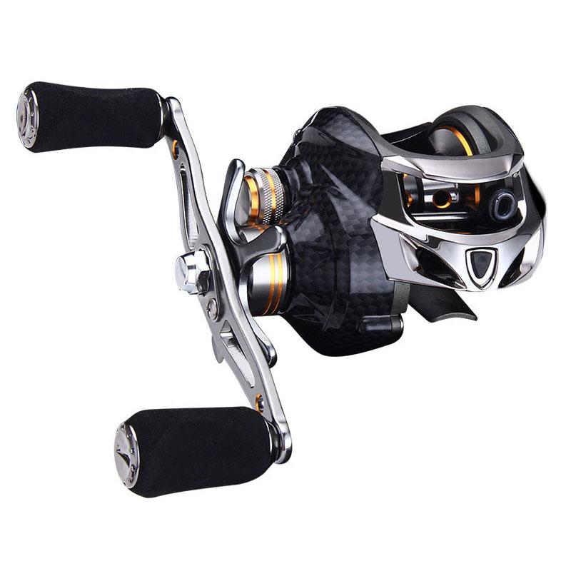 High Quality 18+1 BB Fishing Reel Carbon Shell Lightweight 217g Max Drag 10KG/17.6LB Baitcasting Reel, Black and silver
