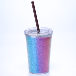Food grade BPA free 16oz Color changing termperature sensitive double wall plastic tumbler with straw lid
