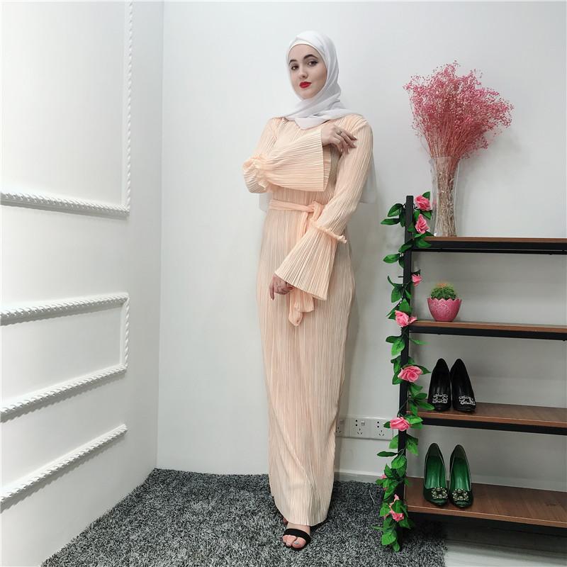 2019 Hot Sale Beige Long Kaftan Dress Bodycon Maxi Dress for Muslim Young Girl фото