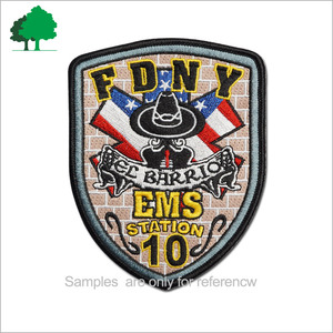 Direct factory sale custom high quality cheaper embroidery for Fire Brigade embroidery patch