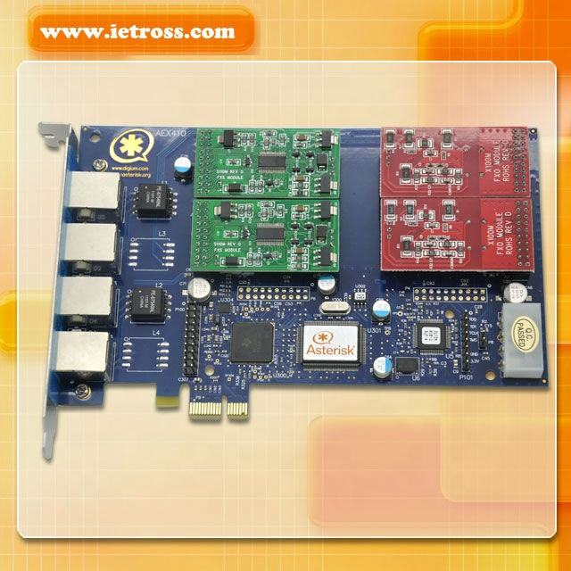 PCI Express Card PCI-E 4 Port FXO/FXS Tanda Bintang Kartu