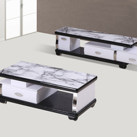 Modern marble top Design Black And White tempered glass coffee tables centre table