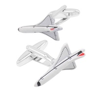 Newest Fashion High quality White Enamel Airliner Cuff links Men Brand Jewelry