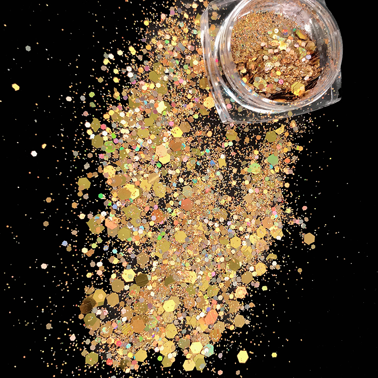 Xuqi Holographic Glitter Powder Biodegradable Cosmetic chunky Mix Glitter Powder gold For Festivals Rave Bulk Wholesale