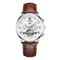 TEVISE t846a Man Casual Calendar Leather Watches Automatic Mechanical Chronograph Male Fashion Wristwatch