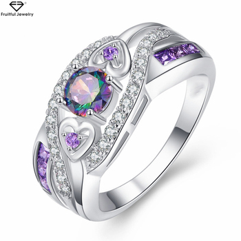 New Arrival Oval Heart Cut Design Multicolor & Purple White CZ Silver Ring Size 6 7 8 9 Fashion Women Jewelry Gift