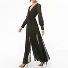 Factory manufacturer women ladies V neck long sleeve chiffon maxi dress
