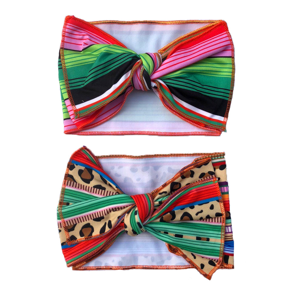 wholesale new style cute colorful serape Baby Girls Ribbed ribbon <strong>headband</strong> with 7inch bow.