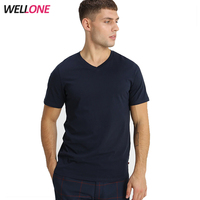 Wholesale mix colors cheap basic slim fit 97% cotton 3% spandex navy blue v neck blank men plain custom logo t shirt