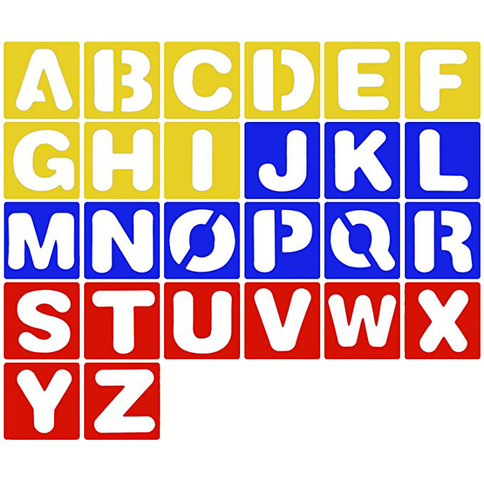 Preschool ABC Letter Templates 4 Alphabet Number Stencils Large and Small Shape Letter Stencils Set for Kids Lettering Stencils for Craft Plastic Kid Stencil Letters and Numbers for Art