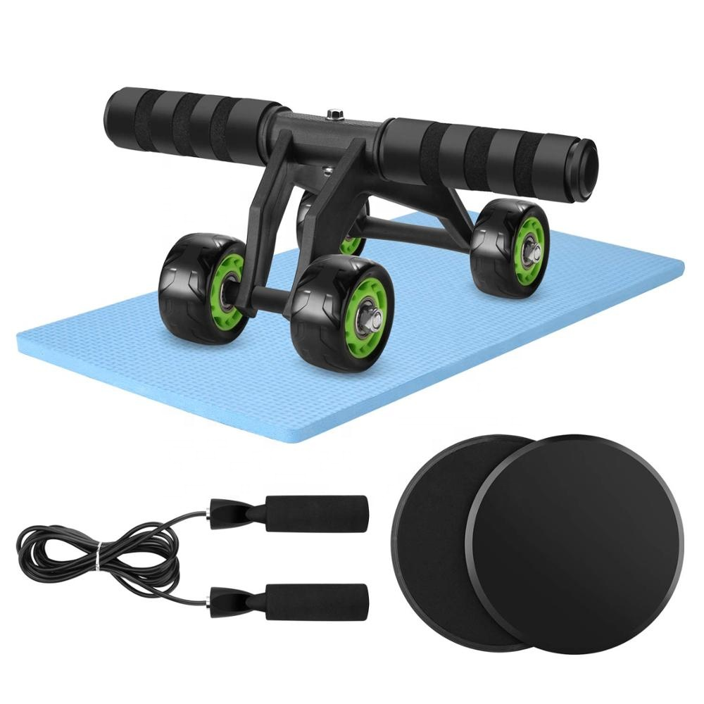 Wellshow Sport Bodybuilding Home Gym Equipment Fitness 4 Wheels Abdominal Trainer Wheel Abc Roller For Core Workout