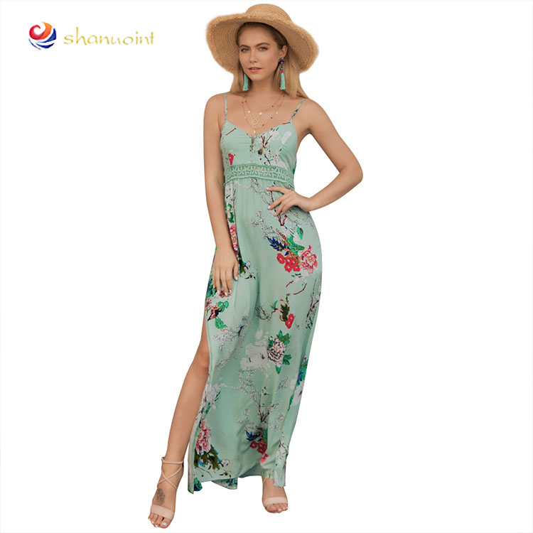 01a3440ea331 Mulheres Casuais Mini Vestido Boho Verão 2019 sem mangas floral imprimir  vestido de praia para senhoras