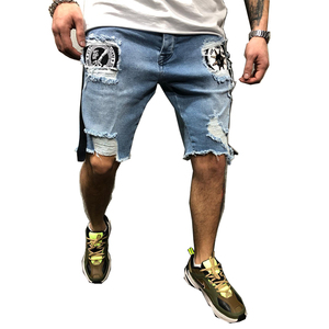 Biker Jeans Shorts Men's Summer Stretch Denim  Pants Short  Fit Skinny Breathable Five Trousers Skinny Jeans England