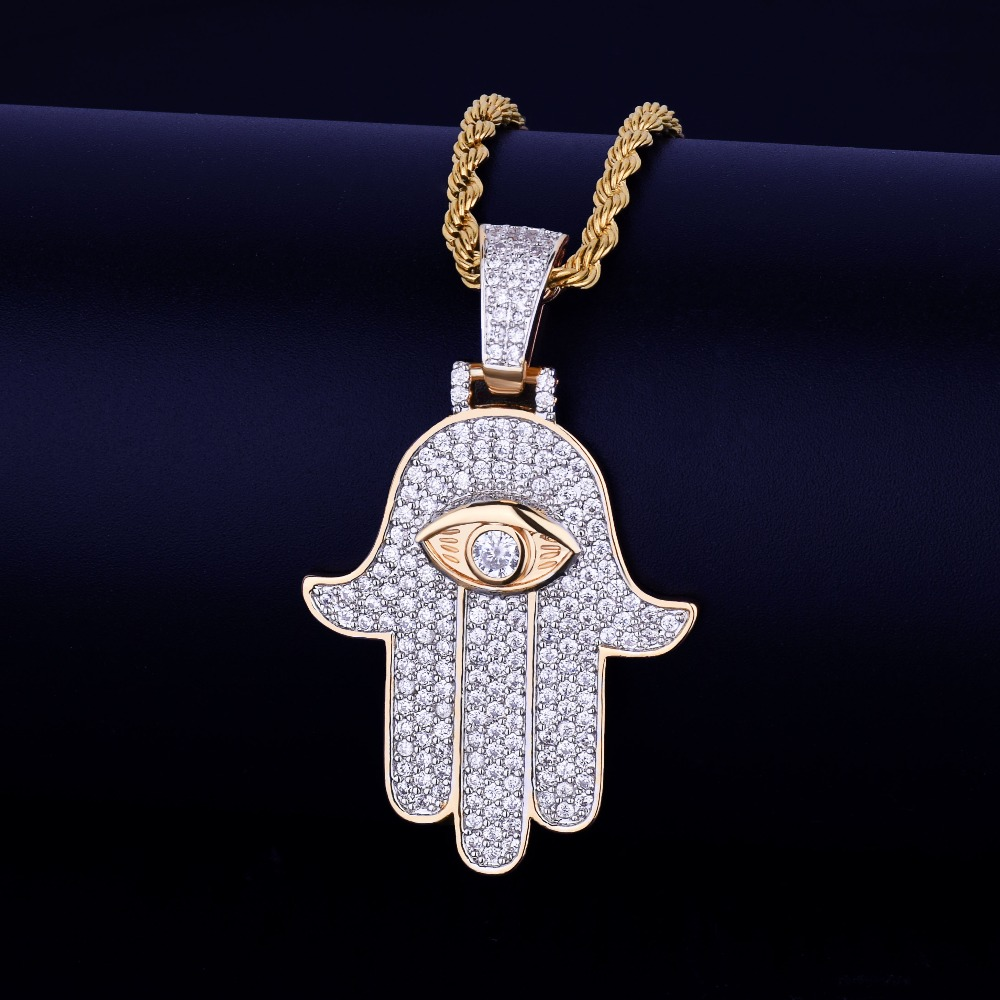 Bijoux Homme Iced out Rope Chain Link Hamsa Fatima Diamond Necklace Bling Hip Hop Hand Pendant for Men фото