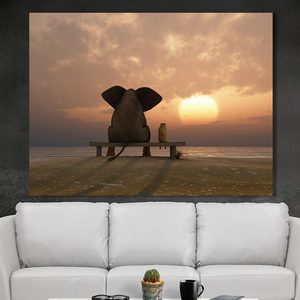 canvas fabric abstract canvas painting pig see sunset wall art decor painting canvas