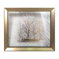 100% Handmade Home Decoration Picture Painted Painting Gold Foil Tree on Glass