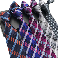 2019 New Polyester 8cm Slim Silk Grid Stripes Neck Ties For Men Wedding