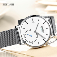 New 2018 Brand Minimalist Blue Dial Single Hour Hands Stainless Steel Case Genuine Leather Strap Automatic Watches Men Wrist OEM