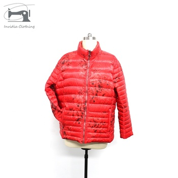 Women Stretch Hooded Red Zip-off  Down Jacket Winter Puffer Jackets
