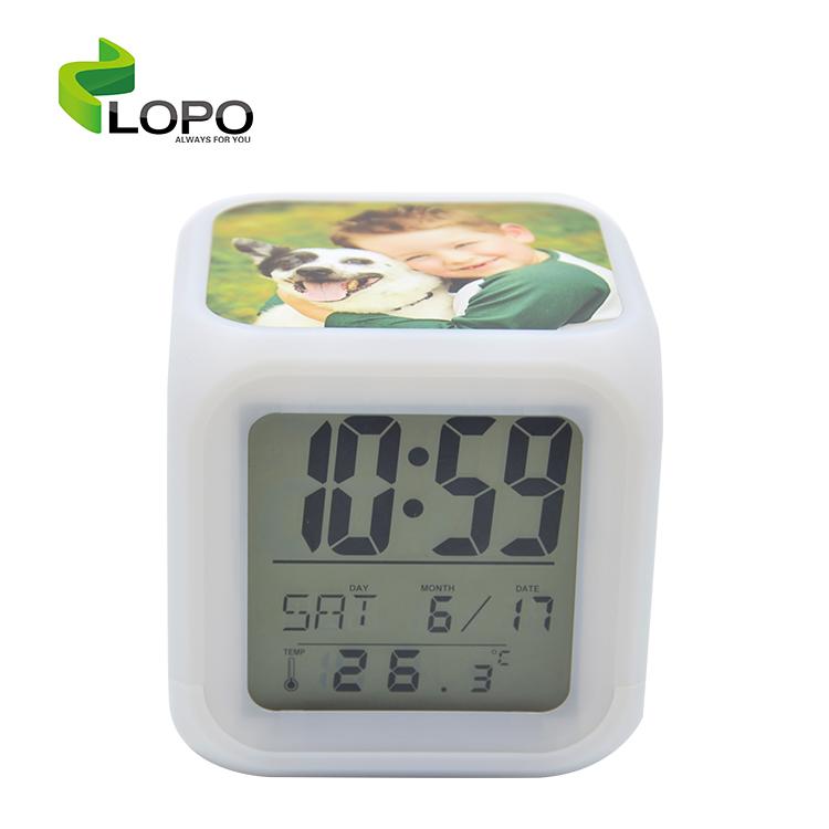 Sublimation Blanks LED Color Change Digital Alarm Clock for back to school season