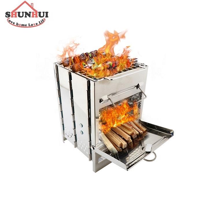 लकड़ी जलती स्टोव BBQ कुकर स्टेनलेस स्टील लकड़ी स्टोव शिविर के लिए डेरा डाले हुए