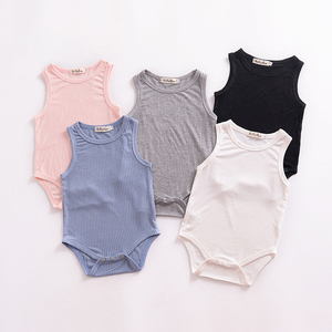 Infant soft cotton sleeveless climb little boys girls hooked romper newborn baby clothes jumpsuit toddler clothing