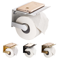 Space Aluminum Wall Mount Toilet Paper Holder with Shelf Toilet Tissue Holder with Shelf Paper Roll Holder